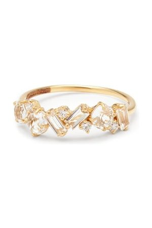 Suzanne Kalan Amalfi Diamond & White Topaz 14kt Gold Ring - Womens - Yellow Gold