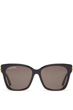 Balenciaga Bb-logo Acetate Sunglasses - Womens - Black Grey