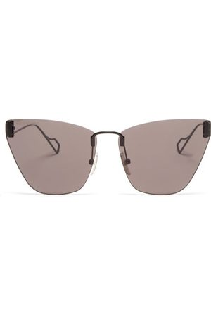 Balenciaga Cat-eye Metal Sunglasses - Womens - Black Grey