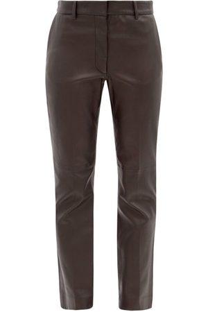 Joseph Coleman Leather Straight-leg Trousers - Womens - Black