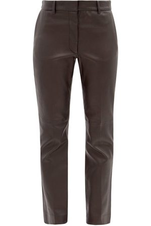 Joseph Dames Leren broeken - Coleman Leather Straight-leg Trousers - Womens - Black