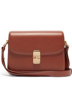 A.P.C. Dames Schoudertassen - Grace Large Smooth-leather Cross-body Bag - Womens - Tan