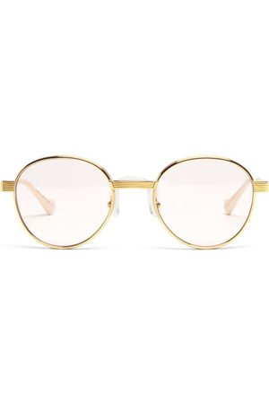 Gucci Round Metal Glasses - Womens - Gold