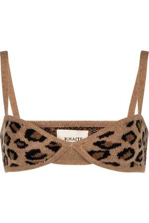 Khaite Eda cheetah-print cashmere bralette