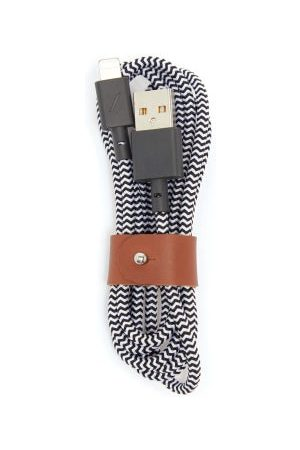 Native Union Belt Leather-trimmed 4ft Usb Charging Cable - Mens - Black And White