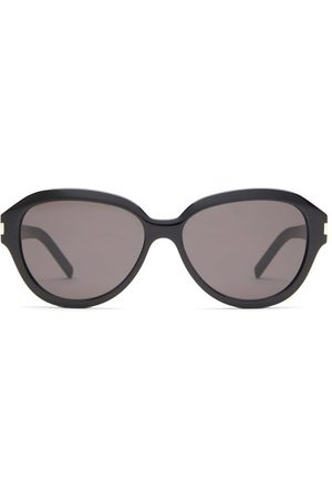 Saint Laurent Round Acetate Sunglasses - Womens - Black