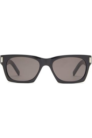 Saint Laurent Rectangular Acetate Sunglasses - Womens - Black