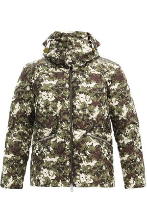 Moncler Blanc Camouflage-print Quilted Down Coat - Mens - Green Multi