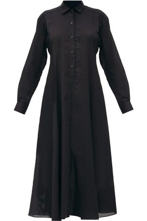 Three Graces London Fallon Cotton-voile Shirt Dress - Womens - Black