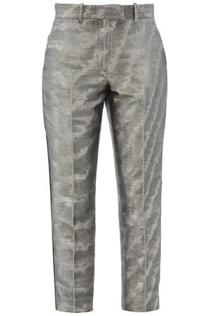 RACIL Aries Cropped Moire-lamé Trousers - Womens - Silver