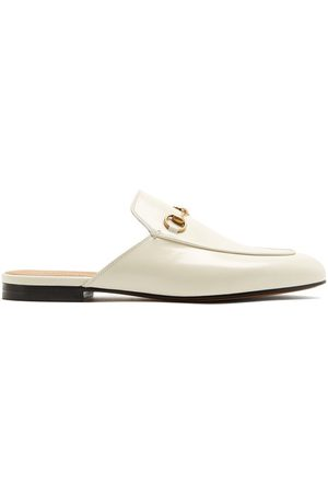 Gucci Princetown Leather Backless Loafers - Womens - White