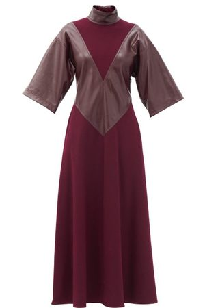 Roksanda Erdea Faux-leather Panelled Wool-jersey Maxi Dress - Womens - Burgundy