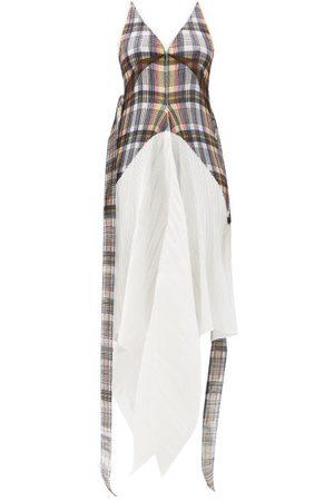 Burberry Handkerchief-hem Check Plissé Dress - Womens - Multi