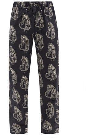 Desmond & Dempsey Sansindo Tiger-print Cotton-poplin Pyjama Trousers - Mens - Black Multi