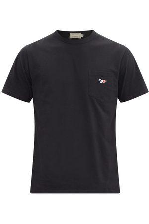 Maison Kitsuné Tricolour Fox-patch Cotton-jersey T-shirt - Mens - Black