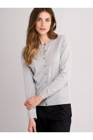 REPEAT cashmere Dames Cardigans - Baby cashmere cardigan met ronde hals