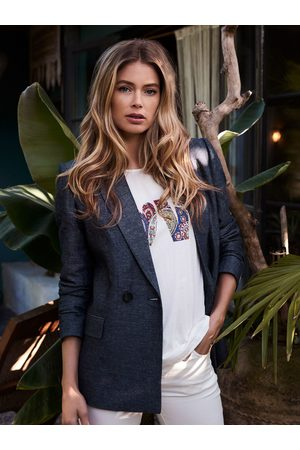 REPEAT Dames Blazers & Colberts - Geweven blazer in linnen-mix in denimlook