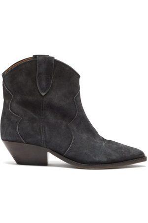 Isabel Marant Dames Enkellaarzen - Dewina Suede Western Ankle Boots - Womens - Black