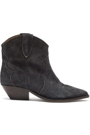 Isabel Marant Dewina Suede Western Ankle Boots - Womens - Black