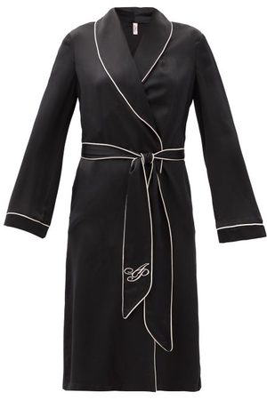 Agent Provocateur Classic Piped-trim Silk-satin Robe - Womens - Black