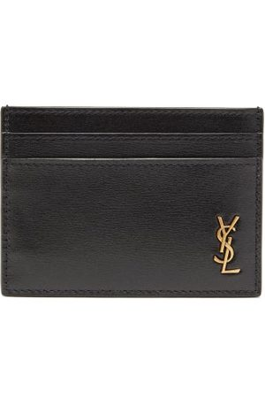 Saint Laurent Ysl Monogram Leather Cardholder - Mens - Black