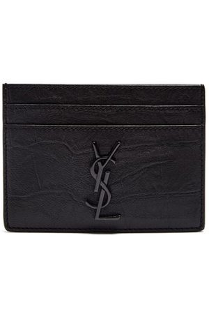 Saint Laurent Monogram Crocodile-effect Leather Cardholder - Mens - Black