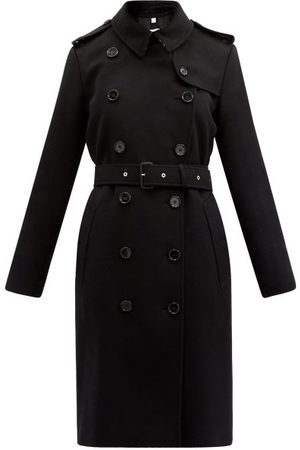 Burberry Kensington Mid Felted-cashmere Trench Coat - Womens - Black