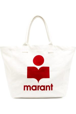 Isabel Marant Yenky Logo-flocked Cotton-canvas Tote Bag - Womens - White