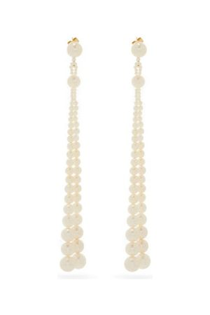SOPHIE BILLE BRAHE Peggy Opera Pearl & 14kt Gold Drop Earrings - Womens - Pearl