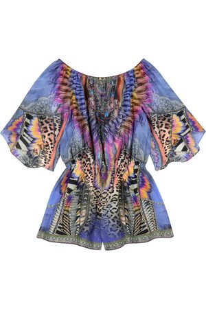 Camilla Embellished printed cotton-blend playsuit