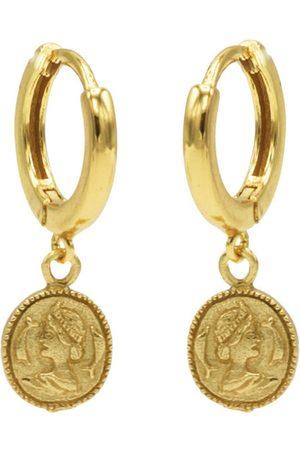 Karma Dames Oorbellen - Oorbellen Hinge Hoops Coin Goudkleurig