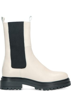 Manfield Off white leren chelsea boots