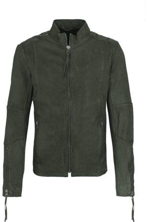 Tigha Heren Leren jas Niam buffed (military green)