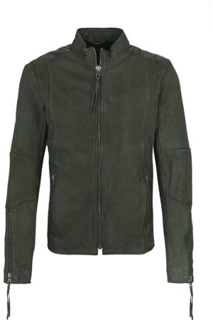 Tigha Herren Leren jas Niam buffed groen (military green)