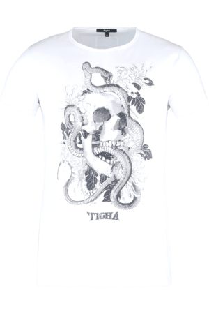 Tigha Heren Shirts - Herren T-shirt Tattoo Skull Wren wit (white)