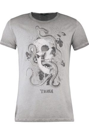 Tigha Heren Shirts - Herren T-shirt Tattoo Skull Wren grijs (vintage grey)