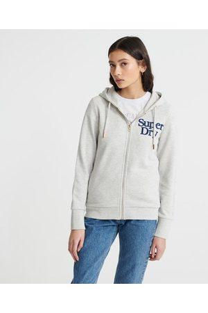 Superdry Geborduurde Serif Loopback hoodie met rits
