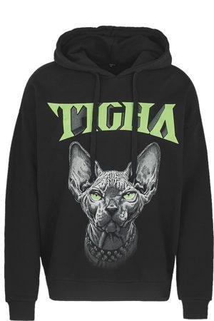 Tigha Heren Truien - Herren Hoodie Naked Kitty Hoodie zwart (black)