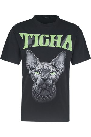 Tigha Heren Shirts - Herren T-shirt Naked Kitty Lessio zwart (black)