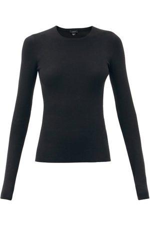 Joseph Round-neck Silk-blend Sweater - Womens - Black