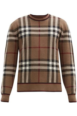 Burberry Naylor Check-intarsia Merino Wool Sweater - Mens - Brown