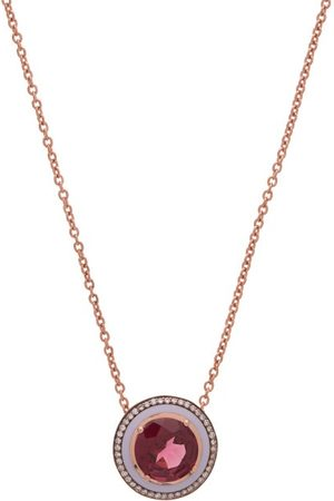 SELIM MOUZANNAR Diamond, Rhodolite & 18kt Rose-gold Necklace - Womens - Rose Gold