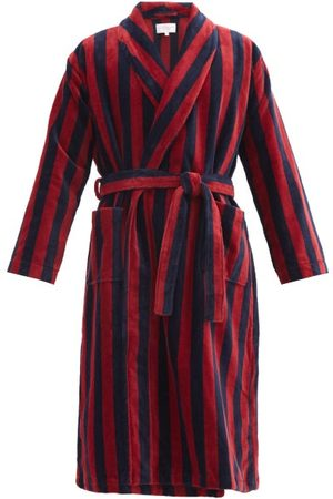 DEREK ROSE Triton Belted Striped Cotton-blend Velour Robe - Mens - Red Multi