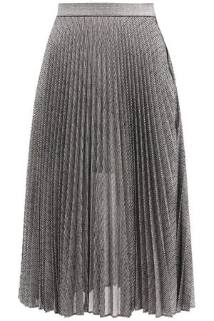Christopher Kane Dna Pleated Metallic Tulle Midi Skirt - Womens - Silver