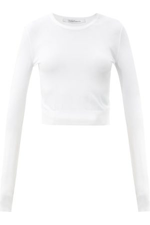 Another Tomorrow Long-sleeved Knitted Cropped Top - Womens - White
