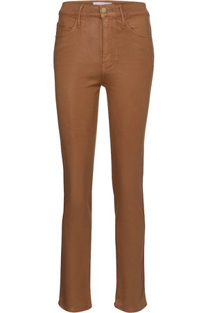 Frame Le Sylvie coated high-rise straight jeans