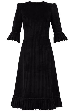 The Vampire's Wife The Festival Jumbo-cord Cotton Midi Dress - Womens - Black