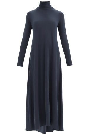 Norma Kamali Swing Roll-neck Flared Longline Jersey Dress - Womens - Dark Blue