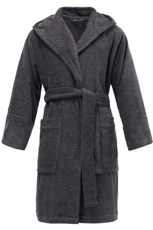 Tekla Hooded Organic-cotton Terry Bathrobe - Mens - Dark Grey