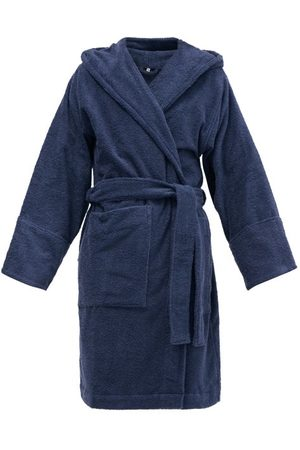 Tekla Hooded Organic-cotton Terry Bathrobe - Mens - Navy